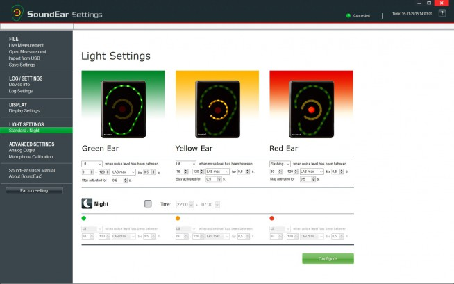 Image of software with light settings displayed