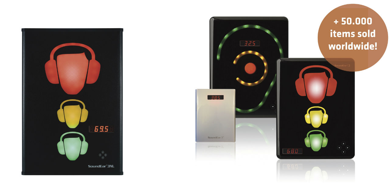 Image of the products in the SoundEar 3 Series including text stating: + 50,000 items sold worldwide